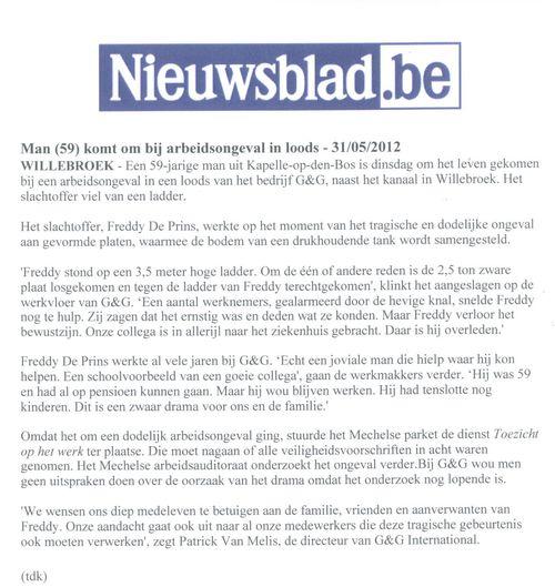 Krantenartikel 31-05-12 Freddy De Prins