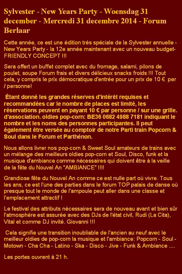 Sylvester Party 2014 - Tekst in FR