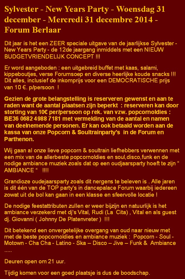 Sylvester Party 2014 - Tekst in NL
